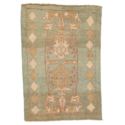 4'1 x 5' Hand-Knotted Turkish Donegal Area Rug