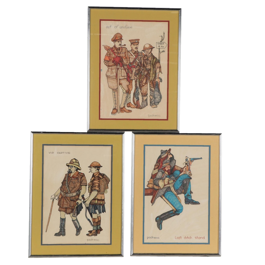 Ferdie Pacheco Ink and Marker Drawings of Military Figures, Mid-20th Century