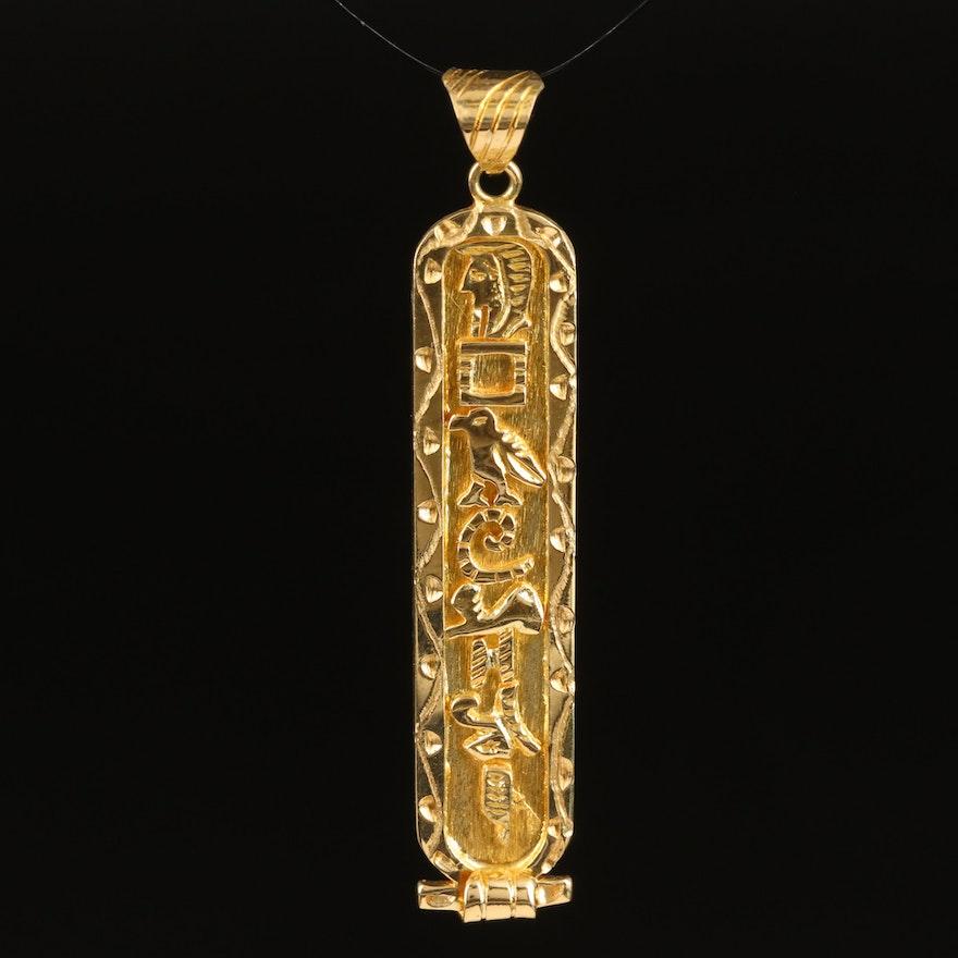 14K Cartouche Pendant with Egyptian Hieroglyphs