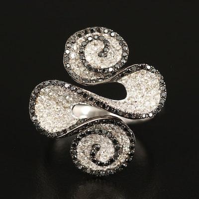14K Diamond Swirl Ring with Contrasting Black Diamonds