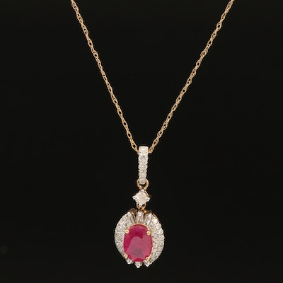 10K Ruby and Diamond Pendant Necklace