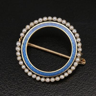 Vintage 14K Pearl and Enamel Circle Pin