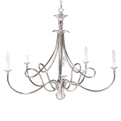 Visual Comfort Double Twist Nickel Finish Five-Arm Chandelier with Crystal Orb