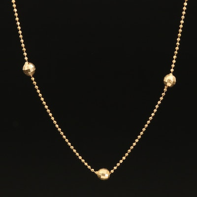 Italian 14K Faceted Bead Chain Station Necklace