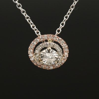 14K Diamond Double Halo Pendant Necklace