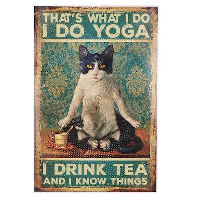 Giclée of a Cat Practicing Yoga, 21st Century