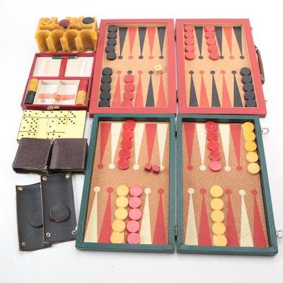 Bakelite Poker Chip Sets, Dominoes and Backgammon Sets