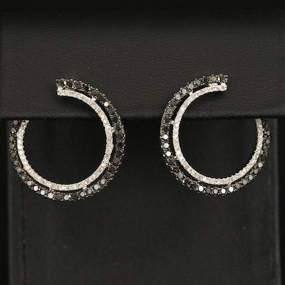 14K Diamond Open Hoop Earrings