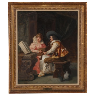 """Frans Dumont Genre Oil Painting """"Musical Courtship,"""" Late 19th Century"""