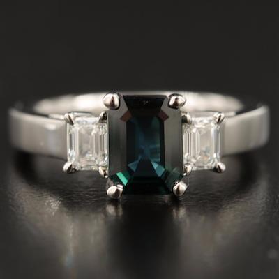 Platinum 1.70 CT Blue Sapphire and Diamond Three Stone Ring