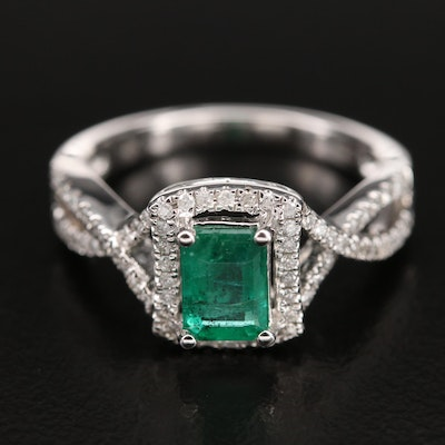 14K Emerald Ring with Diamond Lined Twist Shoulders and Halo