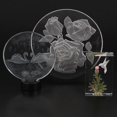 Hallmark, Grunstad, and Rian Etched Acrylic Table Decorations