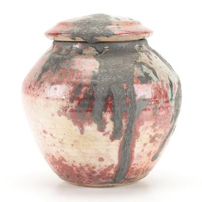 Tom Radca Art Pottery Mottled Glaze Lidded Jar, 1992