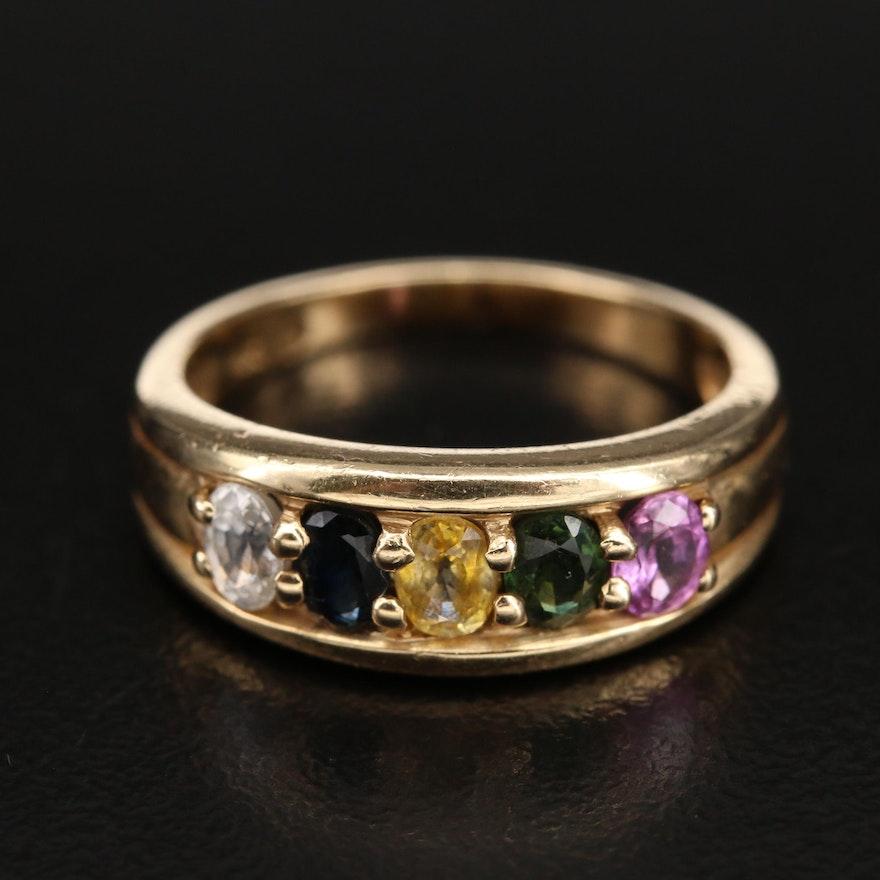 14K Multi Color Sapphire Ring