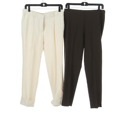 Chloé High Waist Pants in Off-White and Brunello Cucinelli Pants in Brown