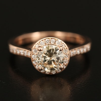 14K Diamond Ring with 1.01 CT Center and 0.25 CTW Halo and Shoulders