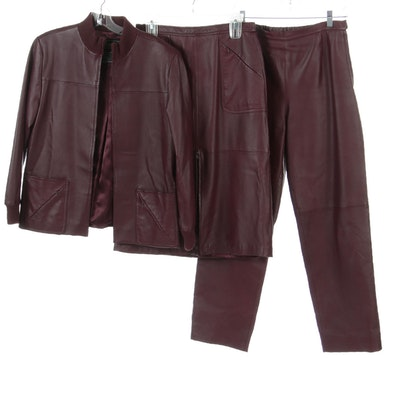Terry Lewis Burgundy Leather Jacket, Skirt and Pants