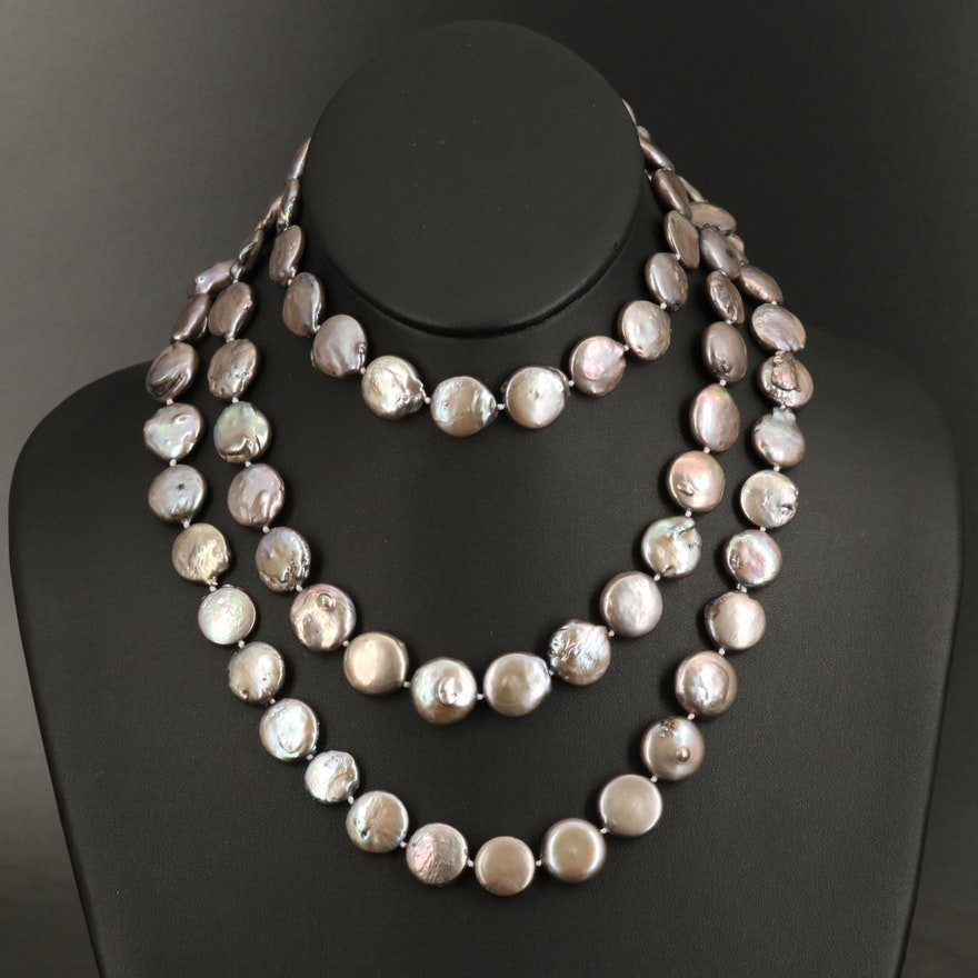 Coin-Baroque Pearl Necklace with Range of 14.25 MM x 13.25 MM - 15.00 MM
