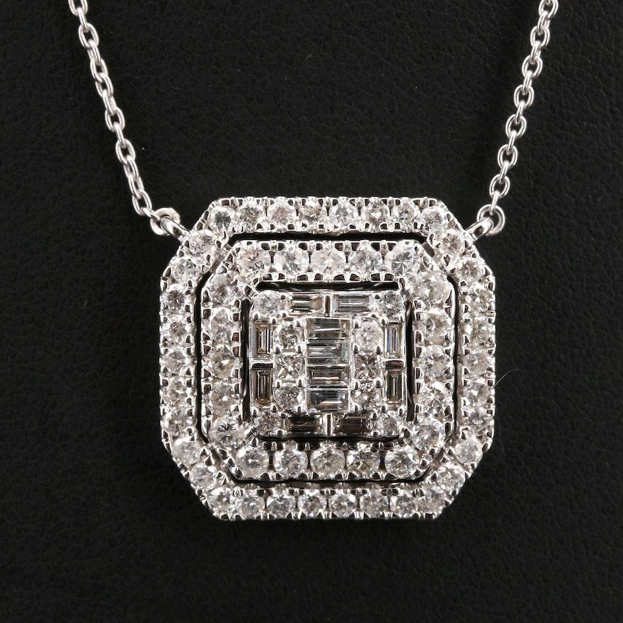 14K 2.93 CTW Diamond Double Halo Pendant Necklace