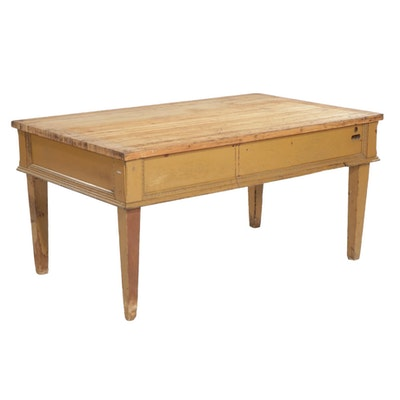 Mustard Yellow Painted Wood Work Table with Butcher Block Type Top