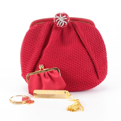 Judith Leiber Red Satin Plissé Evening Bag with Accessories