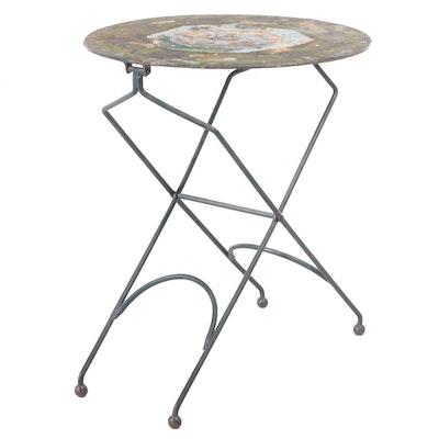 Painted Blue with Folk Art Scene Metal Folding Table