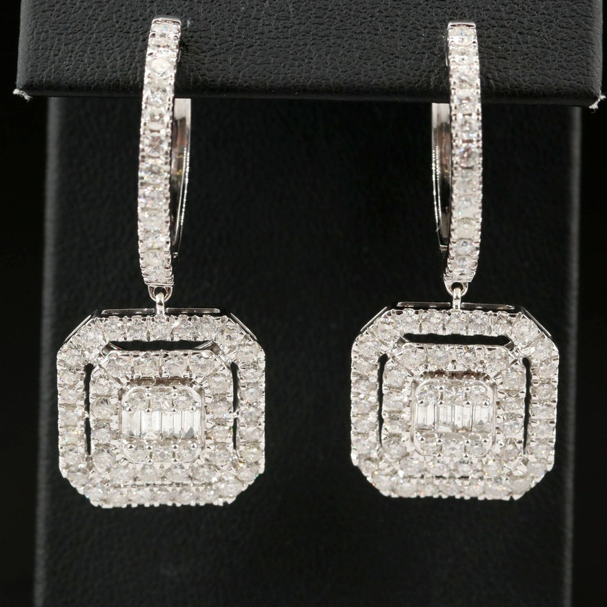 14K 5.15 CTW Diamond Drop Hoop Earrings
