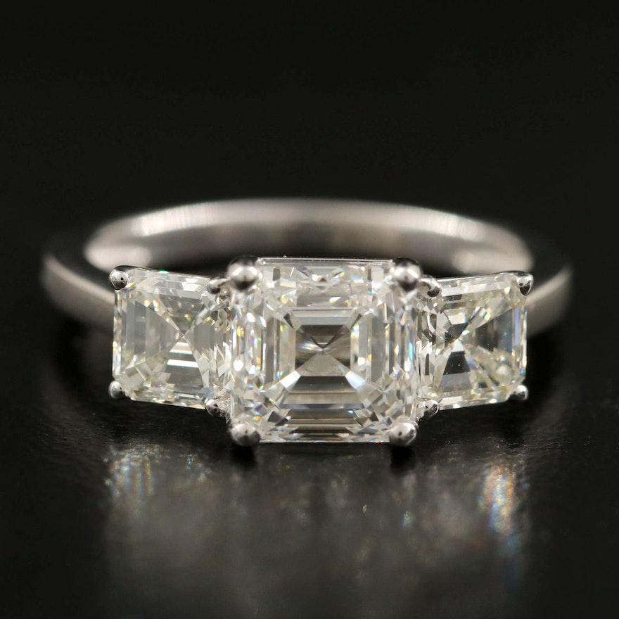Platinum 3.35 CTW Diamond Three Stone Ring with GIA Report