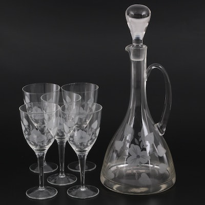 Toscany Floral Etched Wine Decanter and Glasses, Late 20th Century