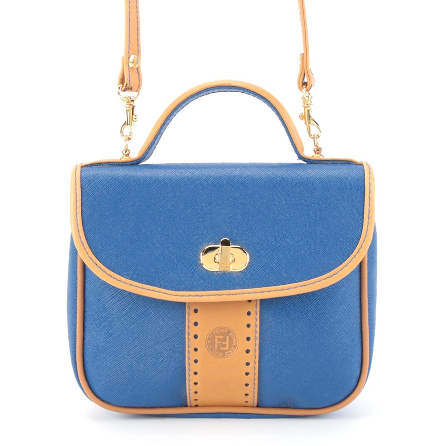 Fendi Two-Way Handbag in Blue Coated Canvas with Tan Leather Trim