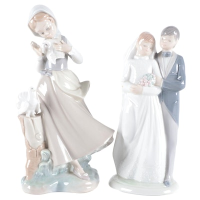 """Lladró """"Girl with Pigeons"""" and Nao by Lladró Bride and Groom Figurines"""