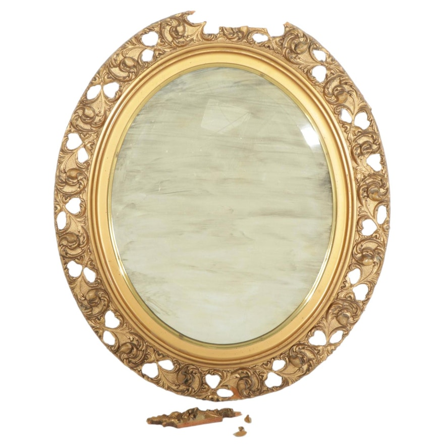 Oval Giltwood Framed Accent Mirror