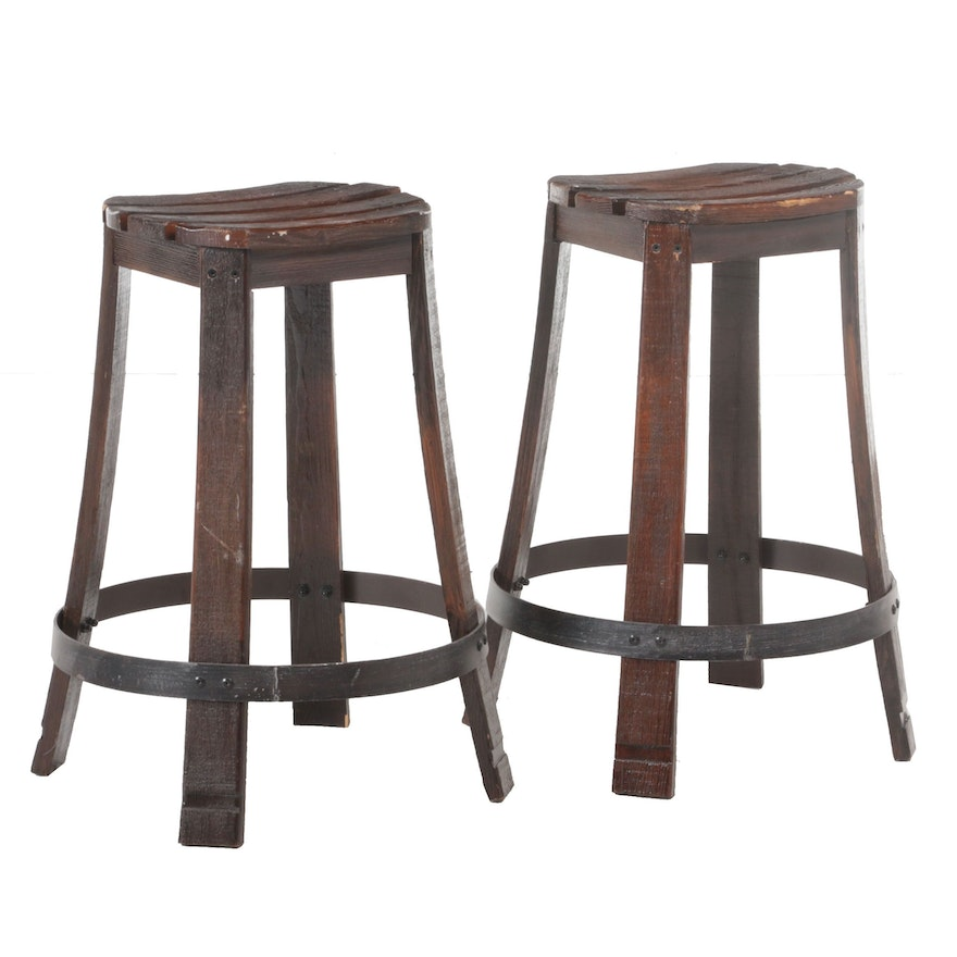 Pair of Metal-Mounted and Slatted Pine Counter-Height Bar Stools