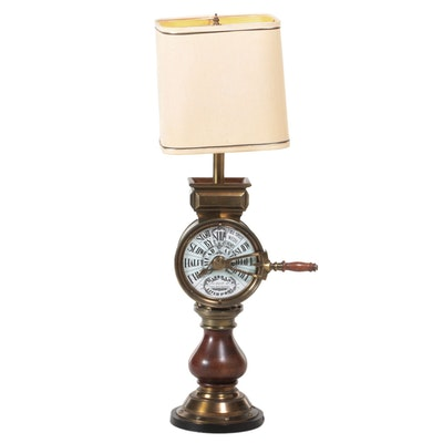 Chadboam's of Liverpool Brass and Mahogany Ship's Telegraph Table Lamp