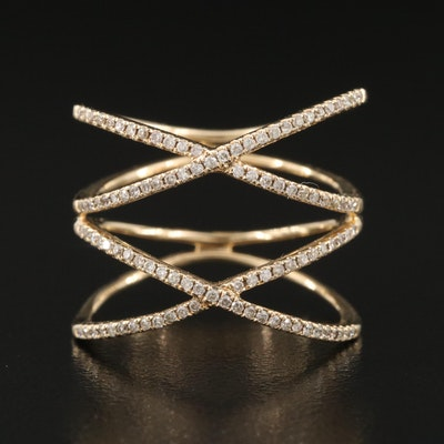 14K 0.41 CTW Diamond Double Crossover Ring