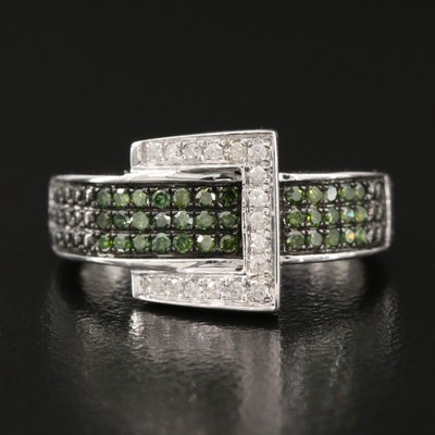 Sterling Diamond Buckle Ring