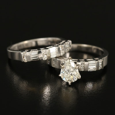 14K Diamond Ring and Band Set with GIA Report