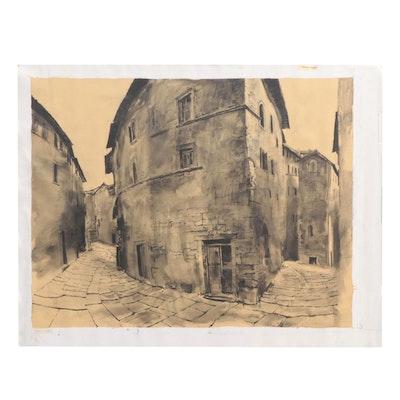 """Acrylic Painting """"Narrow Pathways,"""" Circa 2000"""