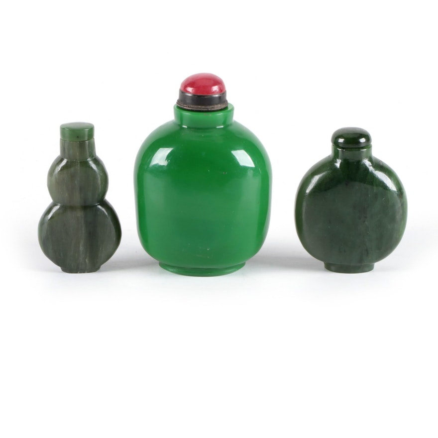 Chinese Carved Green Nephrite and Glass Snuff Bottles
