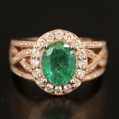 14K Rose Gold 2.02 CT Emerald and 1.34 CTW Diamond Ring
