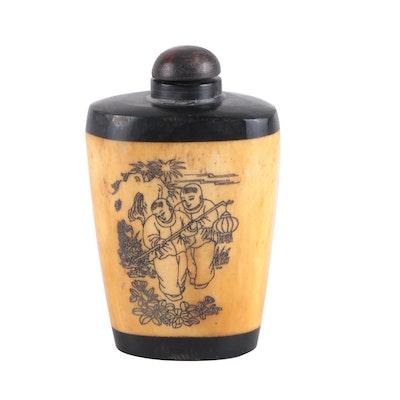 Chinese Carved Bone and Ebonized Wood Snuff Bottle