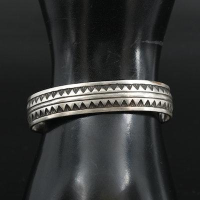Southwestern Style Sterling Silver Patterned Cuff