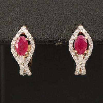 10K Ruby and Diamond J Hoop Earrings
