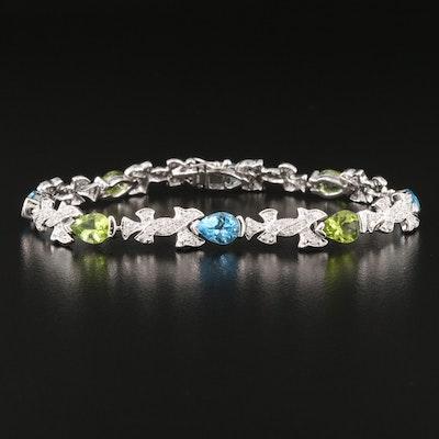 18K 1.80 CTW Diamond, Swiss Blue Topaz and Peridot Bracelet