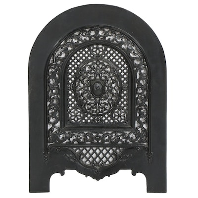 Victorian Cast Iron Arch Top Fireplace Cover, Late 19th Century