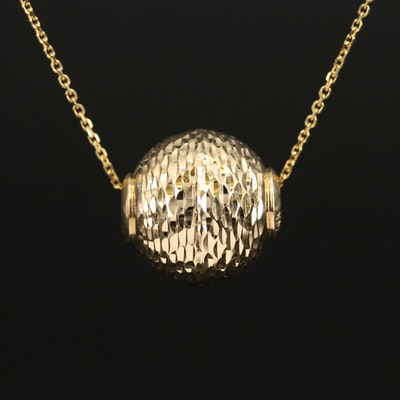 14K Diamond Cut Sphere Pendant Necklace