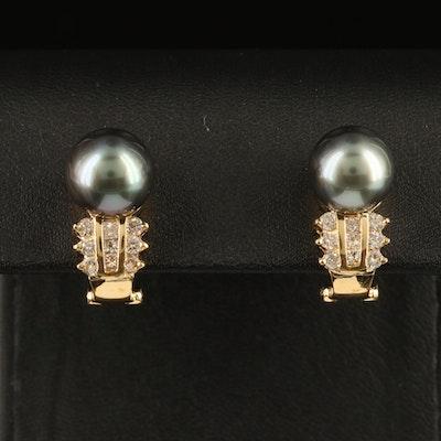 18K 10.20 MM Tahitian Pearl and Diamond Earrings