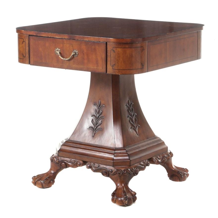 George III Style Hardwood-Veneered and Composite Pedestal Side Table