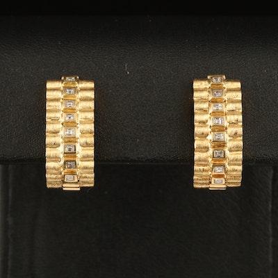18K 0.50 CTW Diamond Fluted J Hoop Clip Earrings