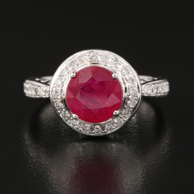 14K Round Faceted Ruby Ring with Diamond Lined Shoulders and Halo